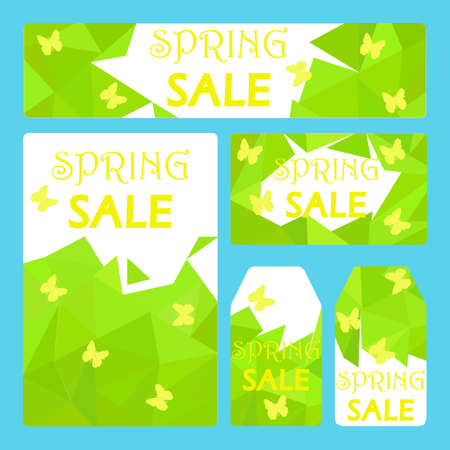 labeling: Spring sale ad templates on green low poly background with yellow butterflies - for voucher, promotion flyer, discount labeling, gift tag