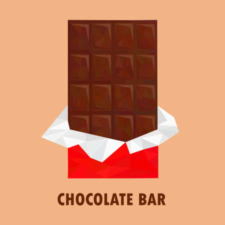 chocolate bar: Chocolate bar in silver foil and red wrapper package. Low poly, polygonal style illustration Illustration