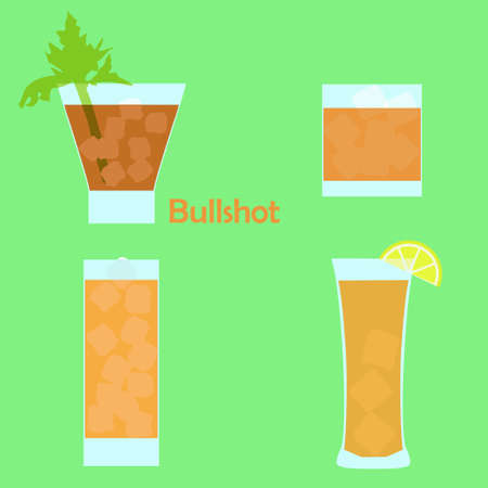 broth: Bullshot alcohol cocktail in different glasses - vector illustration for bar menu, restaurant decoration, party poster