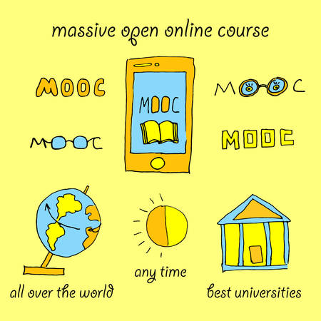 advantages: Mooc massive open online course vector illustration with hand drawn elements about advantages of e-learning, online education, training via internet all over the worl  any time and from best universities Illustration