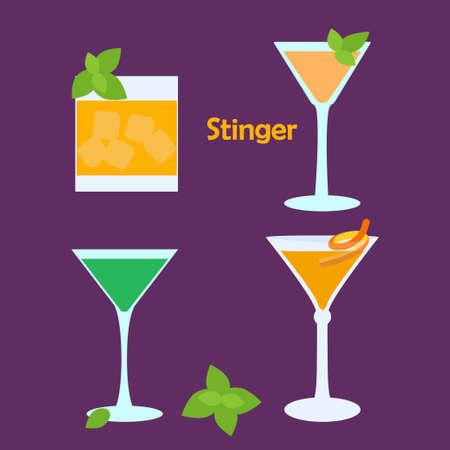 stinger: Stinger alcohol cocktail in different glasses - vector illustration for bar menu, restaurant decoration, party poster