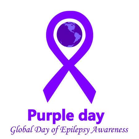 紫日ライラック リボンの伝統的なシンボルとてんかんの意識ベクトル図地球の日。バッジ、バナー、広告、チラシの社会的なキャンペーン、てんか