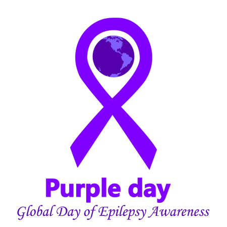 Purple day global day of epilepsy awareness vector illustration with lilac ribbon traditional symbol. Perfect for badges, banners, ads, flyers social campaign, charity events on epilepsy problem