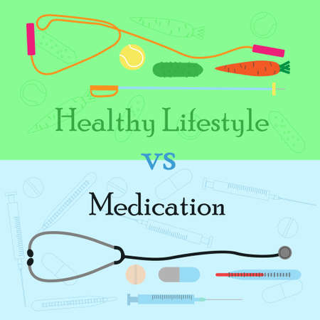 advantages: Healthy lifestyle vs medication concept on advantages of vegetable diet and sport exercise