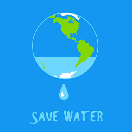 Save water concept with water leaking from Earth - vector illustration for ecology projects, educational posters on water supply problem, drinking water problem