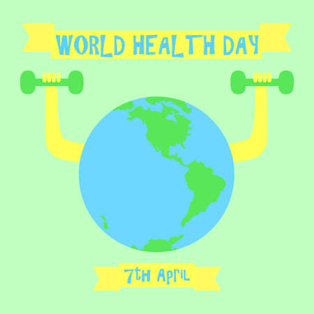 World health day vector illustration  with earth globe doing dumbbell training workout. Positive effect of sport, exercise and physical activity in disease prevention