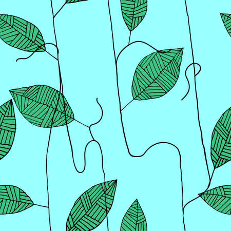 greeting season: Seamless floral pattern with hand drawn striped leaf  - vector illustration for print, textile, fabric, wrapping, season greeting card