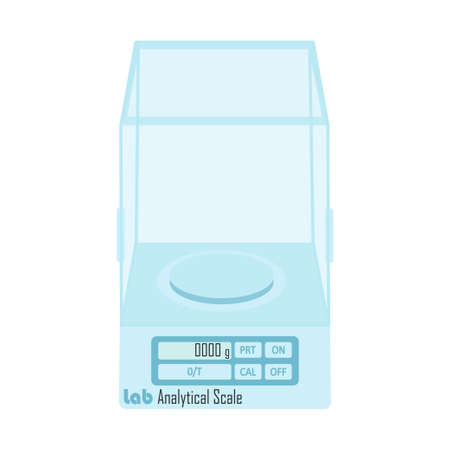 Analytical balances - scales for precise weight measurement in scientific research in biology, chemistry. Vector illustration - lab equipment Illustration