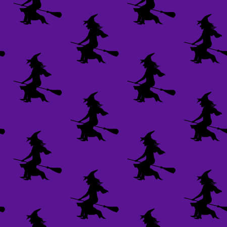 flying hat: Seamless pattern witch silhouette in witch hat flying on broom. Vector pattern for halloween decoration, walpurgis night invitation card, wrapping paper, fabric. Illustration
