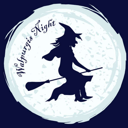 flying hat: Witch silhouette in witch hat flying on a broom on moon background. Vector illustration for halloween card, walpurgis night decoration, fancy-dress party invitation
