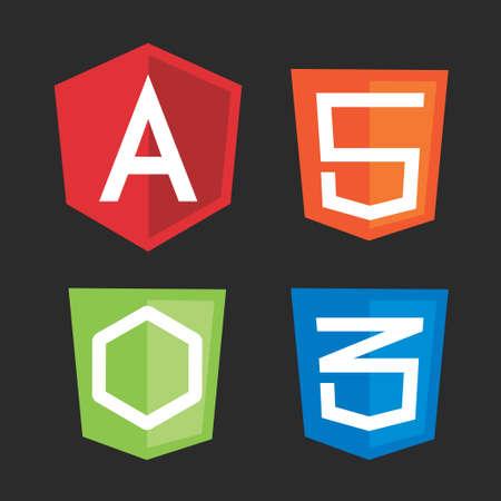 computer programming: Computer framework shields. Vector illustration for computer programming, code development