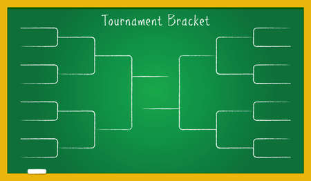 Tournament bracket on green school board. Vector illustration of tournament bracket for sport championship in football, college basketball league, soccer, tennis and other sport activities.