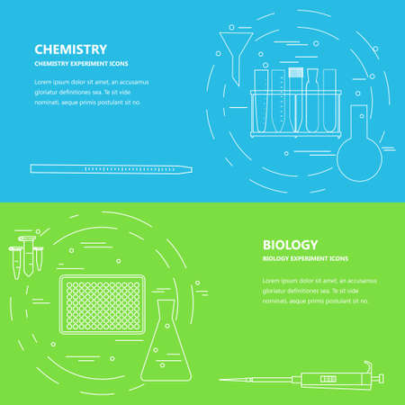 hopper: Chemistry biology banner template with  lab equipment icons. Vector illustration of lab equipment for scientific experiments and research for web banner, poster, conference invitation card, ad, leaflet
