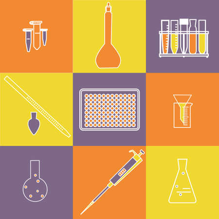 eppendorf: Chemistry biology icon set. Vector illustration of lab equipment for scientific experiments and research