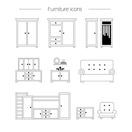 home furnishings: Furniture icon set. Vector illustration of furniture, wardrobe and cupboard - set of outline icons.