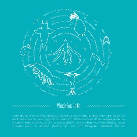 plancton: la vida del plancton. Ilustración del vector de especies de plancton. diseño de la bandera para el proyecto ambiental o ad evento educativo.