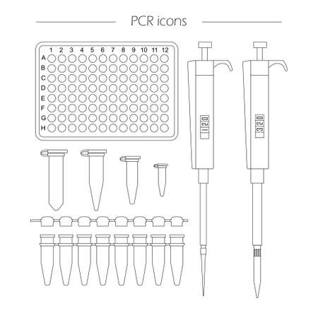 PCR outline icon set of 96 well plate, pipette, eppendorf and strip. Vector lab equipment for pcr, molecular biology research, dna testing, scientific experiments