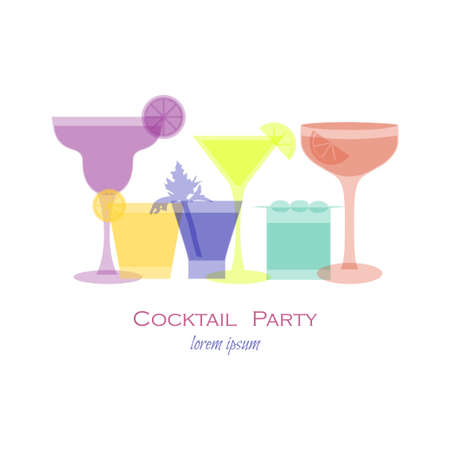 Cocktail party template with cocktail glass. Vector illustration with cocktail silhouette for beverage menu, cocktail party invitation card, banner, flyer