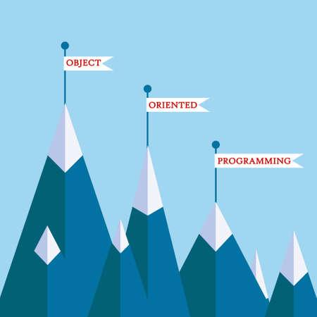 Object-georiënteerde programmering berg concept. Vector illustratie op computer codering, software ontwikkeling, motivatie poster, banner op het programmeren thema Stockfoto - 55638574