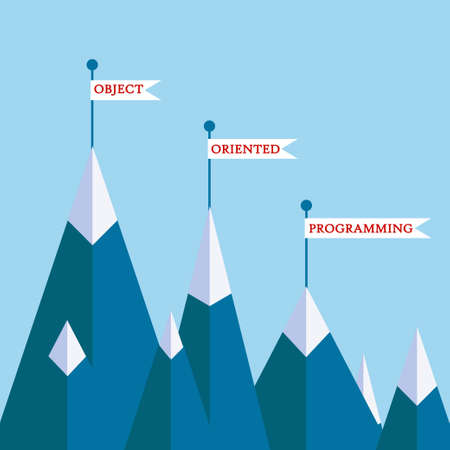 coder: Object-oriented programming mountain concept. Vector illustration on computer coding, software development, motivational poster , banner on programming theme Illustration