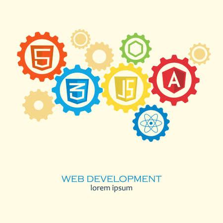 Web ontwikkeling in versnellingen concept. framework Computer vector concept op web development en software voor de website bouwen en ontwerpen