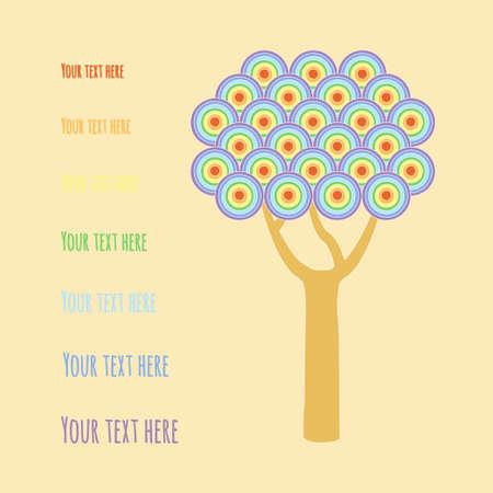 greeting season: Tree with rainbow circles. Vector illustration postcard template on season greeting