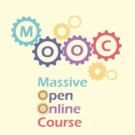 massive: Massive open online course concept with gears and cogs. Vector illustration of MOOC, online education, e-learning. Illustration
