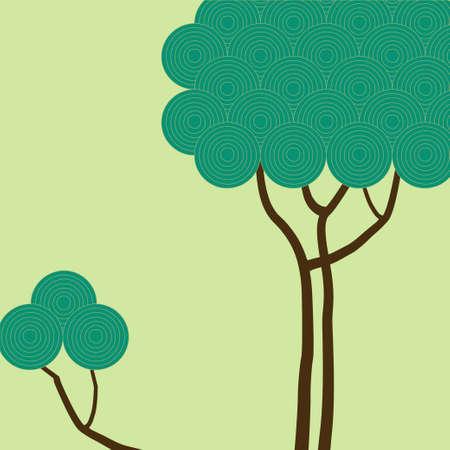 greeting season: Tree with green circles. Vector illustration for postcard template , season greeting card, poster, banner