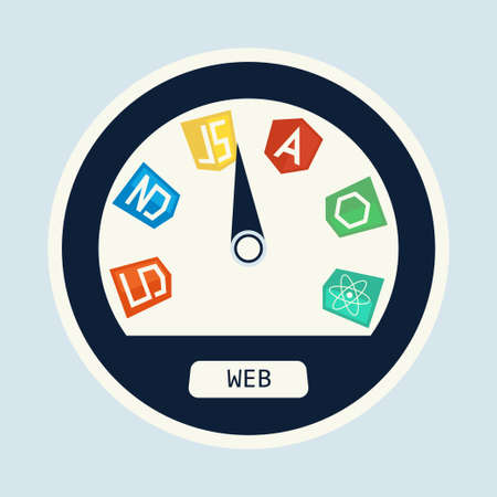 js: Web development in speedometer concept. Computer framework vector concept on web development and software for site building and design