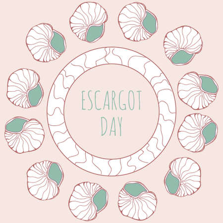 menu land: National escargot day.Deliciously cooked land snail. Vector illustration of traditional french cuisine dish. Ideal for restaurant menu for national escargot day celebration decoration