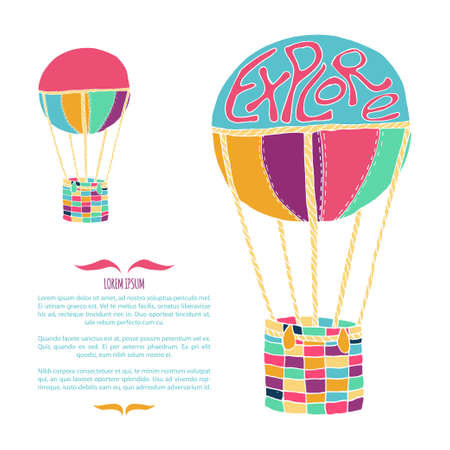 wanderlust: Card template with hand drawn air balloon in bright colors. Vector illustration on adventure, wanderlust, tourism, journey