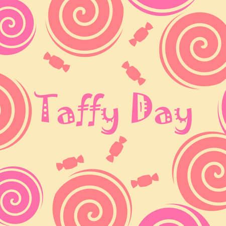 Taffy dag decoratie met taffy snoep en lolly pop in roze en geel. vector illustratie Stock Illustratie