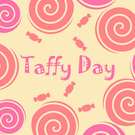 kids fun: Taffy day decoration with taffy candy and lolly pop in pink and yellow. Vector illustration