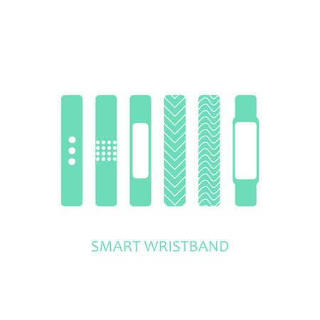 wristband: Smart wristband bracelet icon set. Vector illustration of wearable  technology device, modern fitness gadget