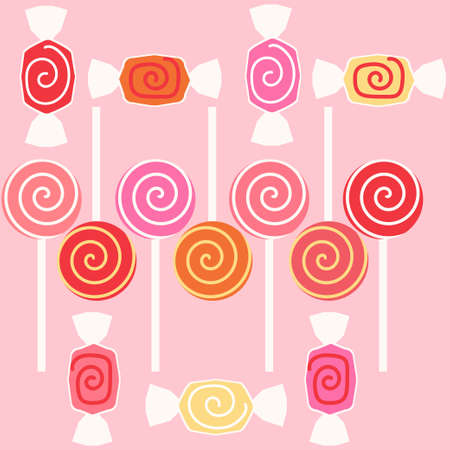 taffy: Taffy sweet candy. Decoration with taffy candy and lolly pop for taffy day. Vector illustration Illustration