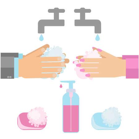 手を石鹸で洗います。衛生習慣手洗いのベクトル illustratuion  イラスト・ベクター素材