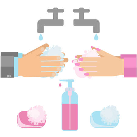 Hand washing with soap. Vector illustratuion of sanitary habit handwashing