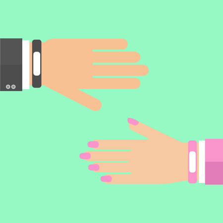 Smart wristband bracelet. Man woman hand. Vector illustration of wearable  technology device, modern fitness gadget