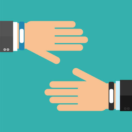wristband: Two hands in business suits with smart wristband bracelet. Vector illustration of wearable  technology device, modern fitness gadget