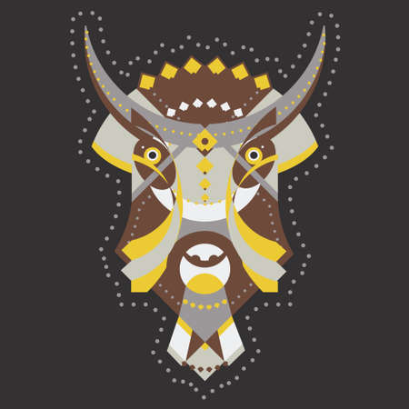 anima: Bison bull head with tribal ornament decoration. Vector illustration of tribal mascot for tatoo, print