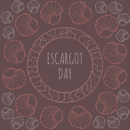 traditional french: National escargot day.Deliciously cooked land snail. Vector illustration of traditional french cuisine dish. Ideal for restaurant menu for national escargot day celebration decoration