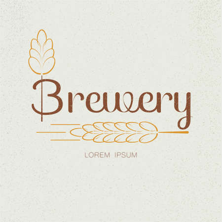 brewery: Brewery textured vector logo with wheat spica