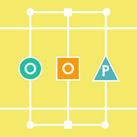 compiled: Oop object oriented programming. Vector illustration acronym for object-oriented programming Illustration