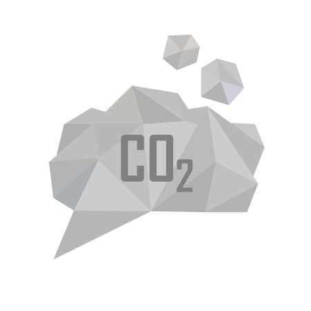 greenhouse gas: CO2 carbon dioxide gas vector illustration. Low poly polygonal style concept for air pollution, gas emission, global warming, ecological problems. Gray smoke cloud Illustration