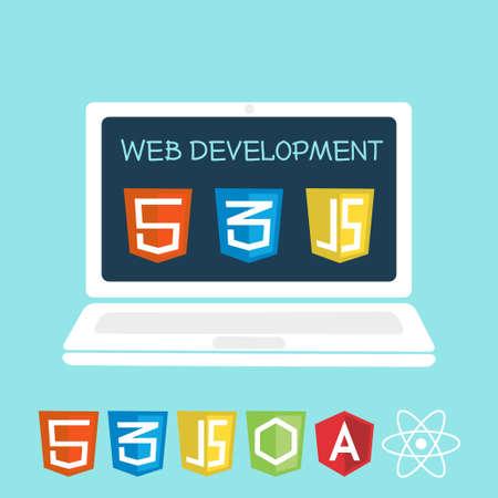 ノート パソコンの画面で web 開発。サイト構築、web 開発のためのソフトウェアのアイコンのベクトル イラスト