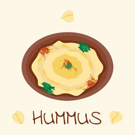 dipping: Hummus traditional arabic food from chickpea. Vector illustration of vegetarian vegan meal