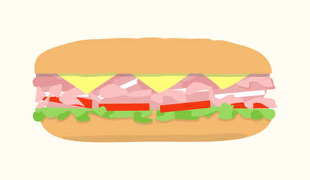 deli sandwich: Submarine sandwich, hoagie, sub. Vector illustration of fast food