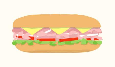hoagie: Submarine sandwich, hoagie, sub. Vector illustration of fast food