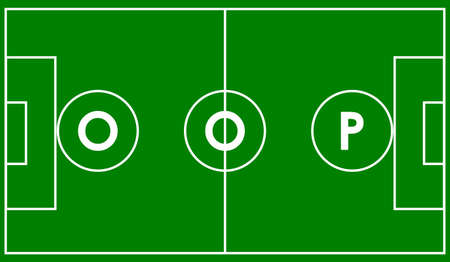 compiler: Oop object oriented programming concept. Vector illustration acronym for object-oriented programming on football field