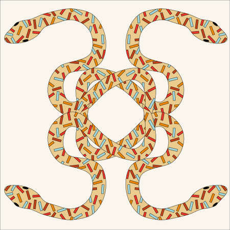 tubular: Brightly colored snakes entwine in a tangle. Vector illustration of ornated serpent animal